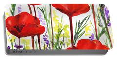 Red Poppies Watercolor By Irina Sztukowski Portable Battery Charger by Irina Sztukowski