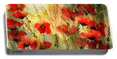 Red Poppies Watercolor Portable Battery Charger