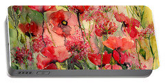 Red Poppies Wearing Pink Portable Battery Charger