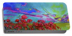 Red Poppy Flower Field, Impressionist Floral, Palette Knife Artwork Portable Battery Charger