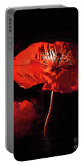 Portable Battery Charger featuring the digital art Red Poppy by Kirt Tisdale