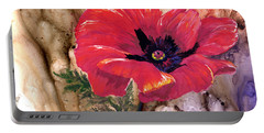 Portable Battery Charger featuring the painting Red Poppy by Sherry Shipley