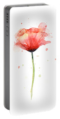 Red Poppy Watercolor Portable Battery Charger