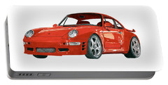 Red Porsche 993 1997 Twin Turbo R Portable Battery Charger by Jack Pumphrey