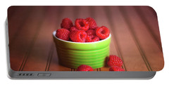 Red Raspberries Still Life Portable Battery Charger