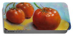 Red Ripe And Ready Portable Battery Charger by Laurie Morgan