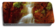 Portable Battery Charger featuring the painting Red River Falls by Peter Piatt