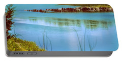 Portable Battery Charger featuring the photograph Red River Crossing Old Bridge by Diana Mary Sharpton
