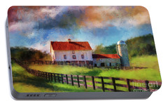 Portable Battery Charger featuring the digital art Red Roof Barn by Lois Bryan