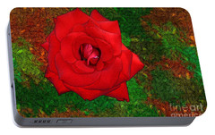 Portable Battery Charger featuring the photograph Red Rose 2 by Jean Bernard Roussilhe