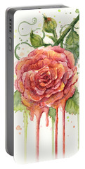 Red Rose Dripping Watercolor  Portable Battery Charger