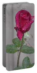 Red Rose In Rain Portable Battery Charger