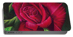Red Rose Portable Battery Charger by Nancy Cupp