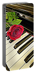 Red Rose On A Piano  Portable Battery Charger