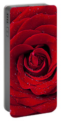 Red Rose With Dew Portable Battery Charger