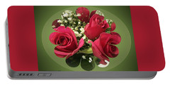 Portable Battery Charger featuring the digital art Red Roses And Baby's Breath Bouquet by Sonya Nancy Capling-Bacle