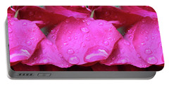 Red Roses And Raindrops Portable Battery Charger