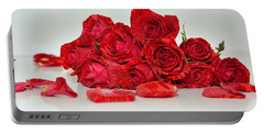 Red Roses And Rose Petals Portable Battery Charger
