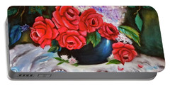 Portable Battery Charger featuring the painting Red Roses by Jenny Lee