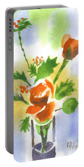 Portable Battery Charger featuring the painting Red Roses With Holly by Kip DeVore