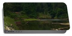Portable Battery Charger featuring the photograph Red Row Boat Catskill Creek by Ellen Levinson
