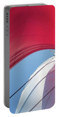 Portable Battery Charger featuring the photograph Red Sail On A Catamaran 4 by Clare Bambers