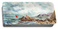 Red Sails At The Shore Portable Battery Charger