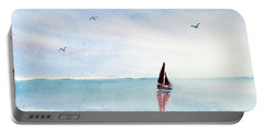 Red Sails On A Blue Sea Portable Battery Charger by Pattie Calfy