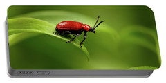 Red Scarlet Lily Beetle On Plant Portable Battery Charger