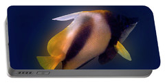 Red Sea Bannerfish On Blue Portable Battery Charger