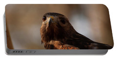 Red Shouldered Hawk Close Up Portable Battery Charger by Chris Flees
