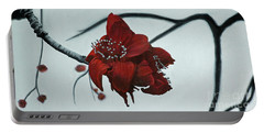 Red Silk Cotton Flower Portable Battery Charger