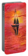 Red Sky At Night Sailors Delight Watercolor Portable Battery Charger