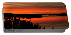 Red Sky On The Illinois River Portable Battery Charger
