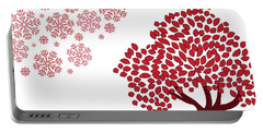 Red Snowflakes And Tree Christmas Art Portable Battery Charger by Serena King