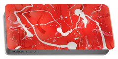 Portable Battery Charger featuring the painting Red Spill by Thomas Blood