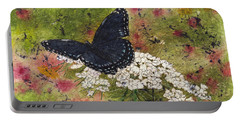 Red Spotted Purple Butterfly Queen Annes Lace Batik Portable Battery Charger