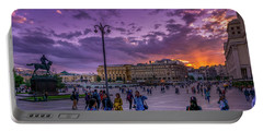 Red Square At Sunset Portable Battery Charger