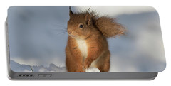 Red Squirrel In The Snow Portable Battery Charger