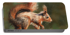 Red Squirrel On Branch Portable Battery Charger
