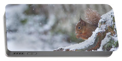 Red Squirrel On Snowy Stump Portable Battery Charger