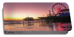 Red Sunset In Santa Monica Portable Battery Charger