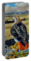 Red Tail Hawk Of Montana Portable Battery Charger by Ruanna Sion Shadd a'Dann'l Yoder
