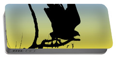 Red-tailed Hawk Taking Flight Silhouette At Sunrise Portable Battery Charger