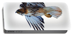 Red-tailed Hawk Winter Flight Portable Battery Charger by Mike Dawson