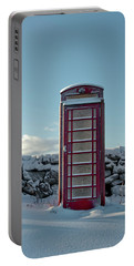 Red Telephone Box In The Snow IIi Portable Battery Charger