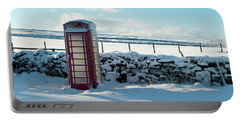 Red Telephone Box In The Snow V Portable Battery Charger