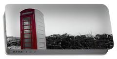 Red Telephone Box In The Snow Vi Portable Battery Charger
