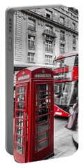 Red Telephone Box With Red Bus In London Portable Battery Charger