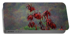 Red Tree In The Rain Portable Battery Charger